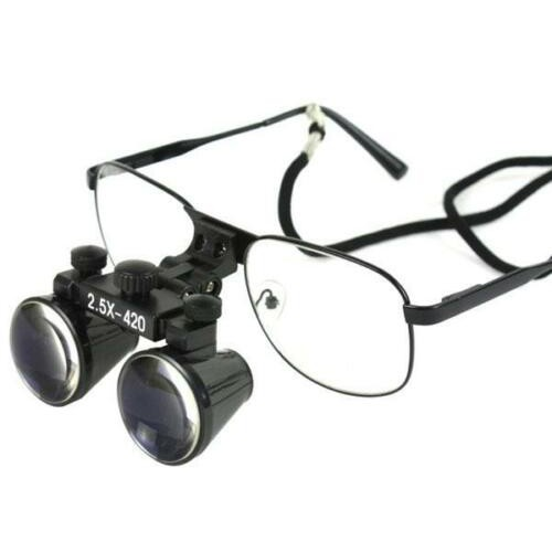 2.5x 420mm Binocular Loupes Dental Lab Surgical Medical Glasses Black DY-103