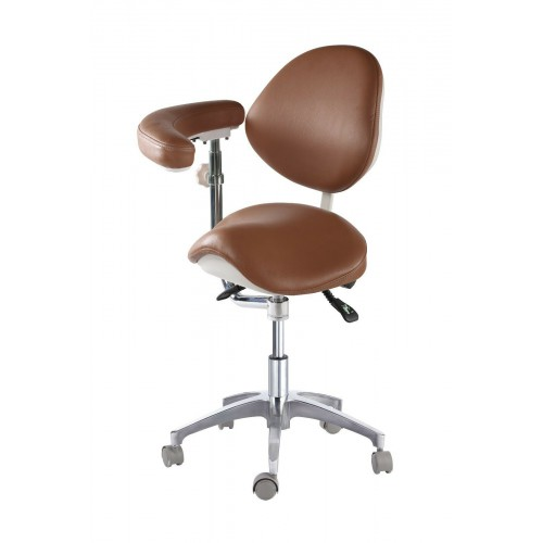 Adjustable Medical Dentist Nurse Saddle Chair Mobile Doctors' Stool PU Leather