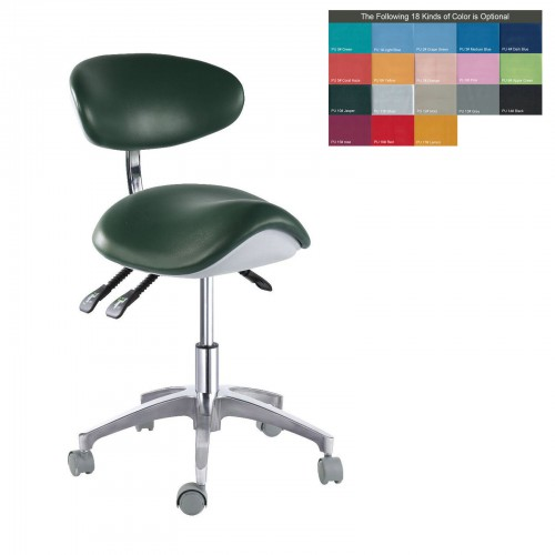 PU Leather Medical Dental Dentist Saddle Chair Adjustable Mobile Doctors'Stool QY-MA1-S