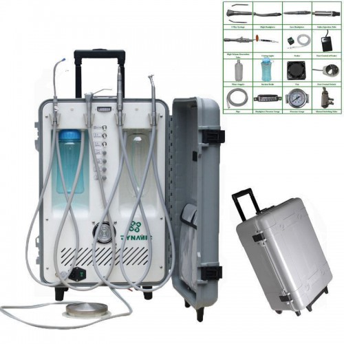 Dynamic DU892 Portable Dental Delivery Unit With Air Compressor w/ 3-way Syringe