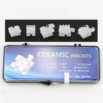 5Pack/20Pcs Dental Orthodontic Ceramic Bracket Braces ROTH 022 345 Hooks