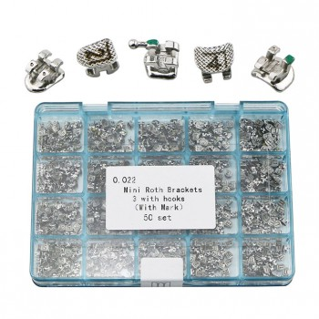50 Sets Dental Orthodontic Metal Brackets Braces Mini Roth 022 3 Hooks Laser Mark