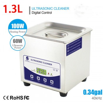 1.3L Industry Ultrasonic Cleaner Machine Heater Stainless Steel w/ Timer Jewelry...