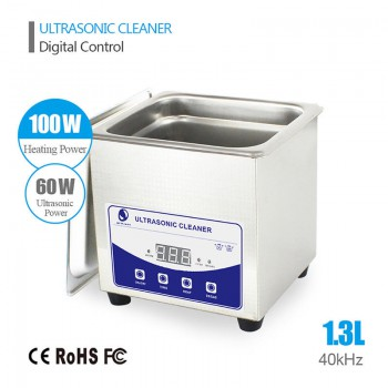 1.3L Liter Industry Heated Ultrasonic Cleaner Machine Heater Timer Stainless Steel