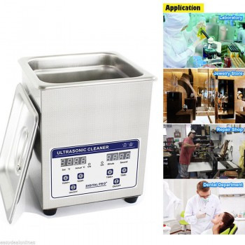 2L Industry Digital Ultrasonic Cleaner Machine Heater Timer Stainless Jewel Clean Tank