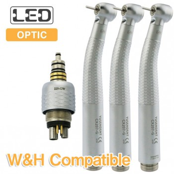YUSENDENT® COXO CX207-GW-PQ Fiber Optic Turbine Handpiece W&H Compatible (With Coupler x1+ Without Coupler x2)