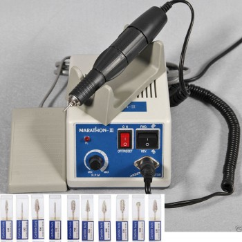Marathon Electric Dental Lab Micromotor Polish N3+35K RPM Handpiece+10 Bur Drill