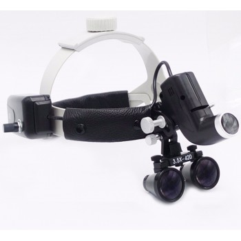 Dental LED Surgical Headlight 3.5X420mm Leather Headband Loupe DY-106