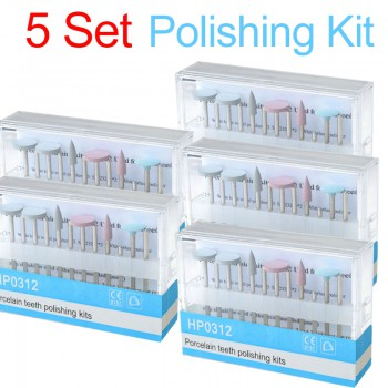 5 Set Dental Diamond Burs Porcelain Polishing Kit HP0312 for Low Speed Contra An...