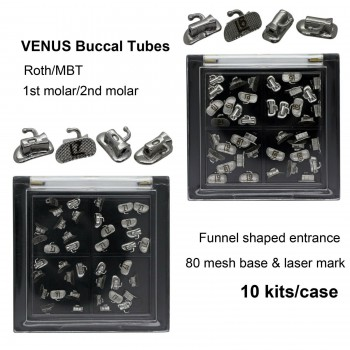 10 Kits VENUS Dental Orthodontic Buccal Tubes Laser Marked Roth MBT 80 Mesh Base