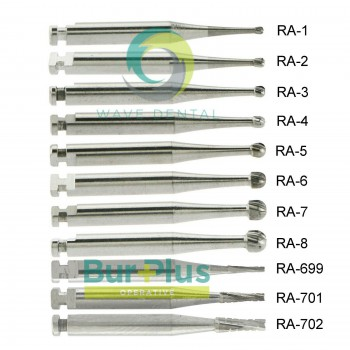 10Pcs/2 Packs Dental Operative Carbide Bur Round Taper Fissure Latch Midwest LA RA 22mm