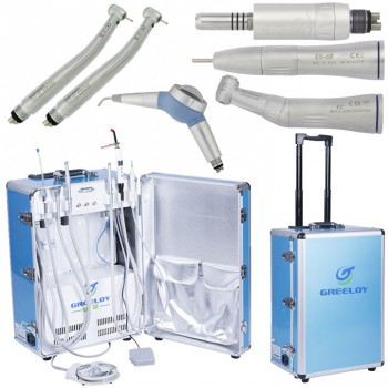 Greeloy® GU-P206 Portable Dental Unit + High Speed Handpiece + Low Speed Handpie...