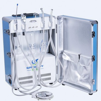 Greeloy Portable Dental Unit with Air Compressor GU-P204 + Triplex Syringe