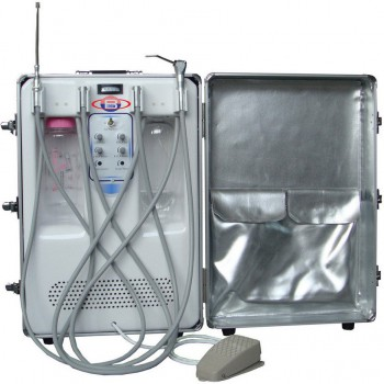 BD-406A Portable Dental Turbine Unit(Air Compressor+Suction System+Triplex Syrin...