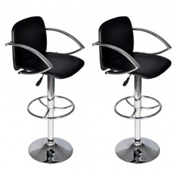 Reception Bar Stools with Backrest 2 Black