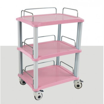 ZL® YA50R 3 Trays Dental Instrument Cart Blue / Pink Rolling Trolley ABS Made