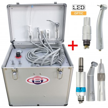 BD-402B LED Fiber Optic Dental Turbine Unit with Air Compressor + Handpiece Kit
