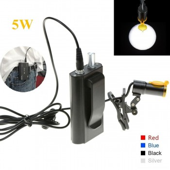 5W Clip-on Type Dental LED Headlight with Filter + Belt Clip for Loupes Black
