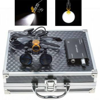 Dental 3.5X Binocular Loupes + 5W LED Head Light w/ Filter + Aluminum Box