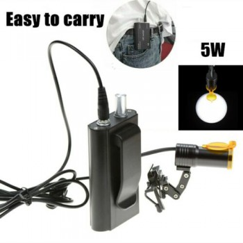 Clip-on Dental Metal 5W LED Head Light + Filter & Belt Clip for Loupe