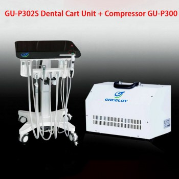 Greeloy GU-P302S Mobile Dental Adjusted Treatment Cart Unit + Ultrasonic Scaler + Air Comprssor GU-P300