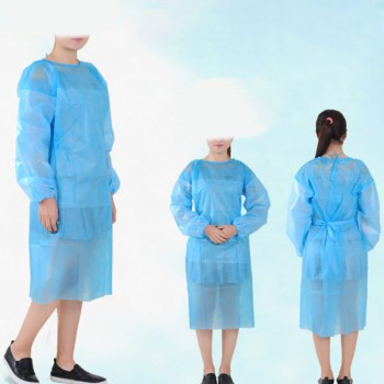 10 Pack Non-woven Blue Disposable Isolation Gown Protective Isolation Gown Cloth...