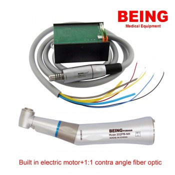 BEING Dental Electric Motor LED +1:1 Contra Angle Fiber Optic Handpiece