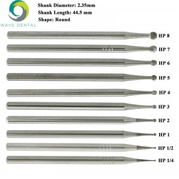 5 Packs Wave Dental Carbide Burs Round For Straight Handpiece HP1/4 1 2 3 5 6 8 ...