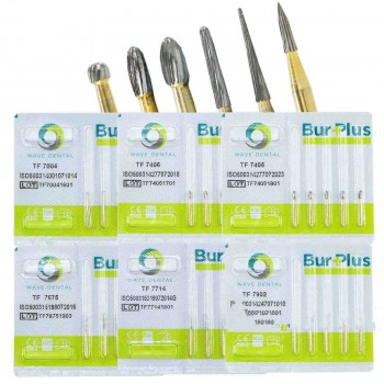 5Packs WAVE Dental Gold plated Trimming and Finishing Bur Taper TF 7004 7406 7408 7675 7714 7902