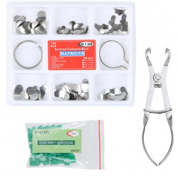 Full Kit Dental Matrix Sectional Contoured Matrices + 40 Pcs Silicone Add-On Wed...