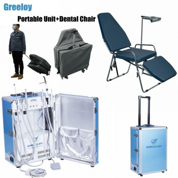 Greeloy® GU-P206 Portable Dental Unit with Curing Light and Scaler Handpiece +Portable Dental Chair GU-P101