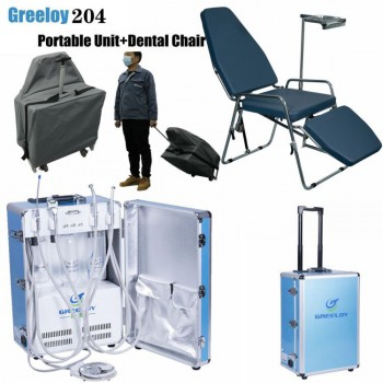 Greeloy GU-P204 Portable Dental Unit with Air Compressor +Portable Dental Chair GU-P101