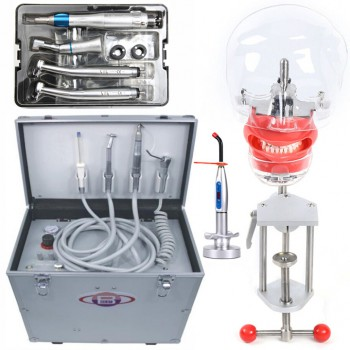 BD-402 Portable Dental Unit +Curing Light + Dental Handpiece Kit + Dental Manikin Phantom Head