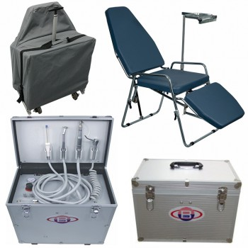 BD-402 Portable Dental Turbine Unit with Air Compressor + Greeloy Portable Dental Chair GU-P101
