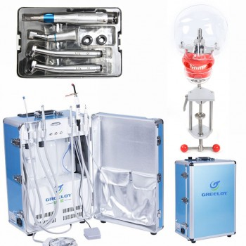 Greeloy Portable Dental Unit GU-P206 + Curing Light + Dental Handpiece Kit + Dental Manikin Phantom Head