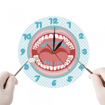 Dental Clinic Teeth Clock Personalized Business Name Wall Clock Custom Dentist Name