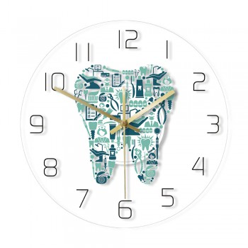 Dentist Symbols Acrylic Wall Clock Teeth Shape Decorative Clock for Dental Office