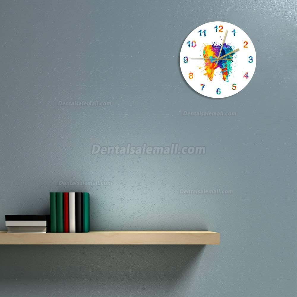 Watercolour Tooth Painting Print Wall Clock Medical Dental Clinic Wall Art Non Ticking Wall Watch Orthodontist Dentist Gift Idea