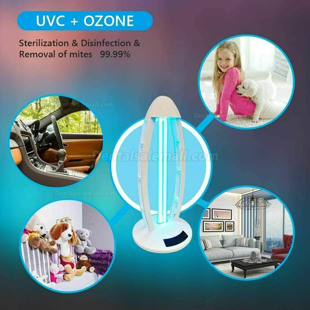 UV Light Ozone Sterilization Ultraviolet Germicidal Lamp with Three-Step Timing Remote for Home