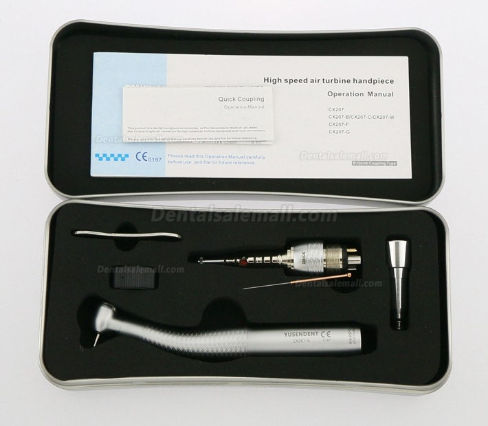 YUSENDENT® COXO CX207-GK-PQ Dental Fiber Optic Turbine Handpiece KAVO Compatible (With Coupler x1+ Without Coupler x2)