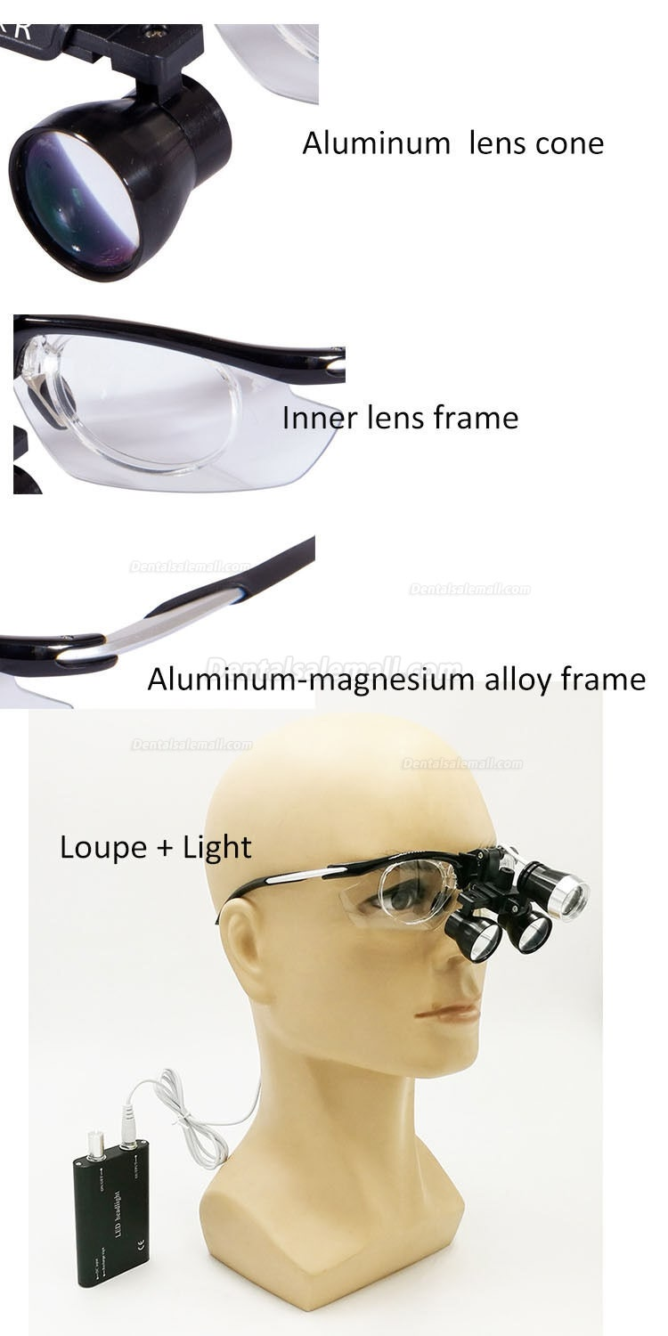 Dental 3.5X Medical Binocular Loupes Magnifier Antifogging Aluminum Frame DY-112