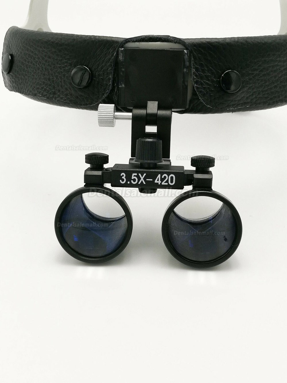 3.5X420mm Dental Surgical Binocular Leather Headband Loupe + LED Headlight Black