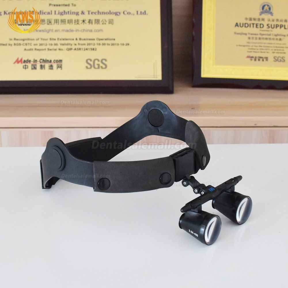 KWS FD-501G-2 2.5X/3.5X Head-bend one-way spiral dental binocular loupes