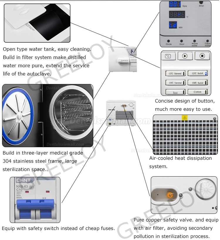 8-23L Dental Autoclave Sterilizer Vacuum Steam With Printer