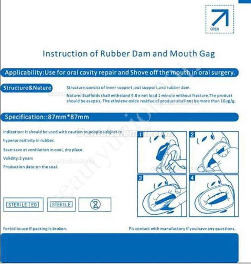 20pc Disposable Sterile Oral Dental Rubber Dam Mouth Opener Cheek Retractor